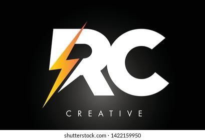 RC Letter Logo Design With Lighting Thunder Bolt. Electric Bolt Letter Logo Vector Illustration.