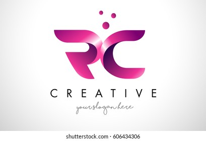 RC Letter Logo Design Template with Purple Colors and Dots