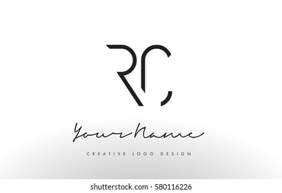 RC Letters Logo Design Slim. Simple and Creative Black Letter Concept Illustration.