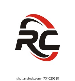 RC logo initial letter design template vector with swoosh around the logo
