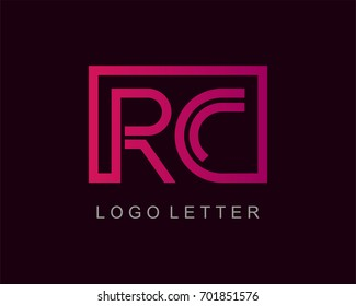 RC Logo letter design vector with box
