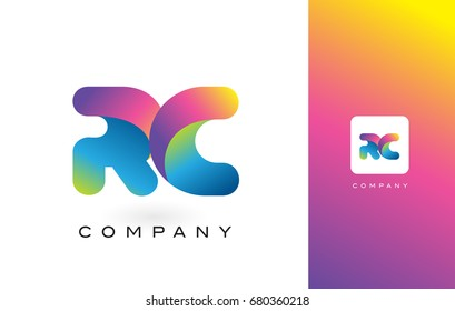 RC Logo Letter With Rainbow Vibrant Colors. Colorful Modern Trendy Purple and Magenta Letters Vector Illustration.