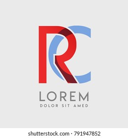 """RC logo letters with """"blue and red"""" gradation"""