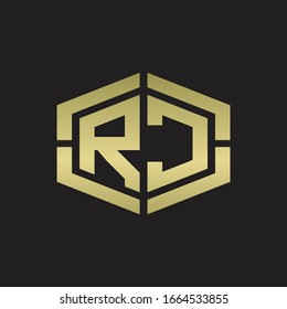 RC Logo monogram with hexagon shape and piece line rounded design tamplate on gold colors