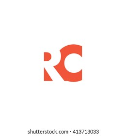 RC Logo. Vector Graphic Branding Letter Element. White Background