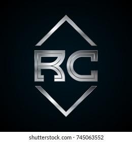 RC Monogram, Metal Logo, Silver Logo