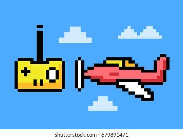 RC Plane Remote Control - Pixel Art. Elements Design. Illustration and icon.