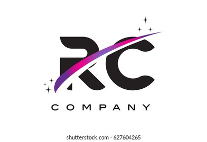 RC R C Black Letter Logo Design with Purple Magenta Swoosh and Stars.