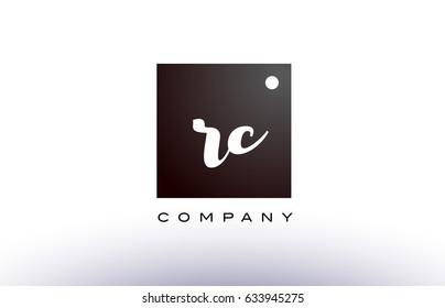 RC R C black white handwritten handwriting alphabet company letter logo square design template dot dots creative abstract