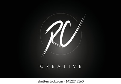 RC R C Brushed Vector Letter Logo Design with Creative Modern Brush Lettering Texture and Hexagonal Shape. Brush Letters Design Logo Vector Illustration.