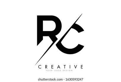 RC R C Letter Logo Design with a Creative Cut. Creative logo design..