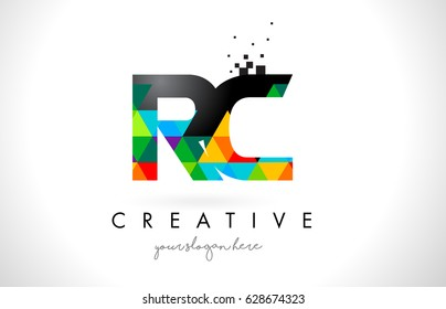 RC R C Letter Logo with Colorful Vivid Triangles Texture Design Vector Illustration.