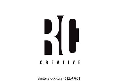 RC R C White Letter Logo Design with Black Square Vector Illustration Template.