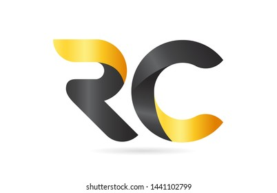 RC R C yellow black alphabet letter logo combination suitable as an icon design for a company or business