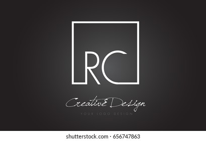 RC Square Framed Letter Logo Design Vector with Black and White Colors.