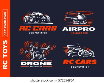 RC toys transport logo set - vector illustration, emblem design on black background