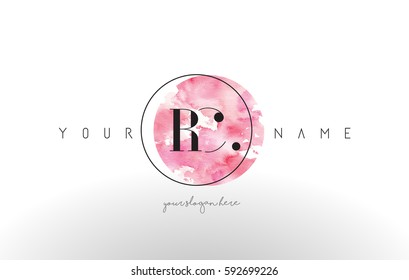 RC Watercolor Letter Logo Design with Circular Pink Brush Stroke.