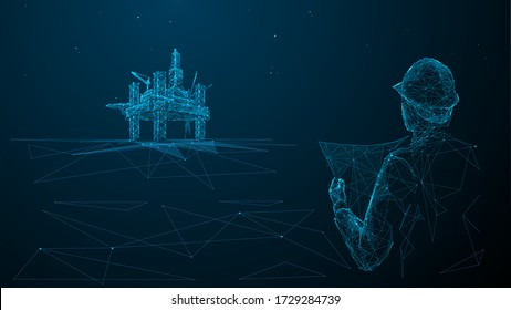 rchitect or engineer in hard hat holding a blueprint looking at gas drilling. 3d abstract vector illustration. Construction, business or petroleum industry concept. Low poly wireframe