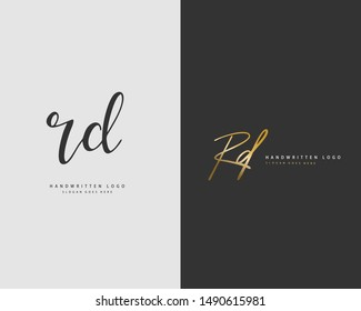 RD Initial handwriting or handwritten logo for identity. Logo with hand drawn style.