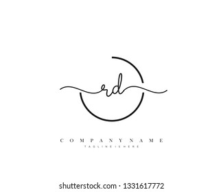 RD initial handwriting logo template vector