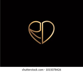 RD initial heart shape gold colored logo