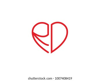 RD initial heart shape red colored logo