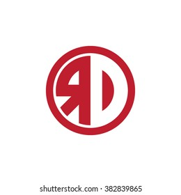 RD initial letters circle business logo red