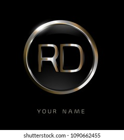 RD initial letters with circle elegant logo golden silver black background