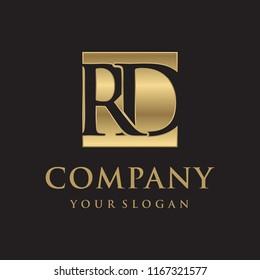 RD initial letters looping linked box elegant logo golden black background