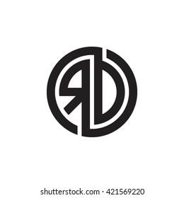 RD initial letters looping linked circle monogram logo