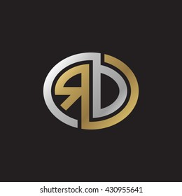RD initial letters looping linked ellipse elegant logo golden silver black background