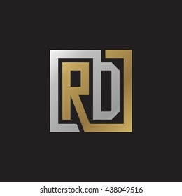 RD initial letters looping linked square elegant logo golden silver black background