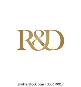 R&D Initial logo. Ampersand monogram golden logo