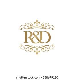 R&D Initial logo. Ornament ampersand monogram golden logo