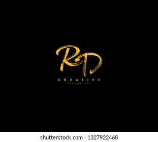RD Letter Brush Grunge Urban Type Style Logo