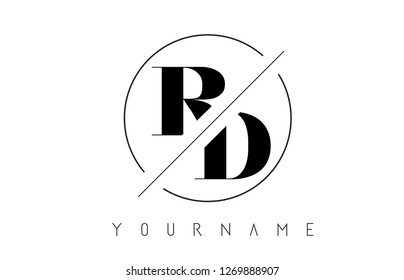 RD Letter Logo with Cutted and Intersected Design and Round Frame Vector Illustration