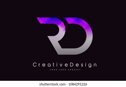 RD Letter Logo Design in Purple Texture Colors. Creative Modern Letters Vector Icon Logo Illustration.