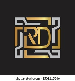 RD Letter logo initial capital monogram with abstract ornament