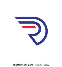 RD logo letter with wing design