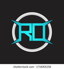 RD Logo monogram with circle and four taper shape design template