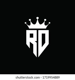 RD logo monogram emblem style with crown shape design template