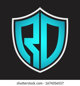 RD Logo monogram with shield shape isolated blue colors on outline design template