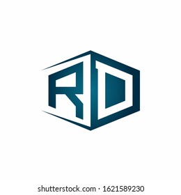 RD monogram logo with hexagon shape and negative space style ribbon design template