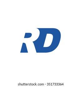 RD negative space letter logo blue