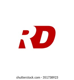 RD negative space letter logo red