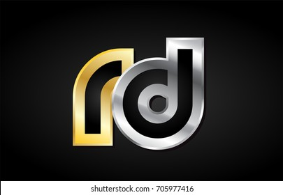 RD R D gold golden silver alphabet letter metal metallic grey black white background combination join joined together logo vector creative company identity icon design template modern