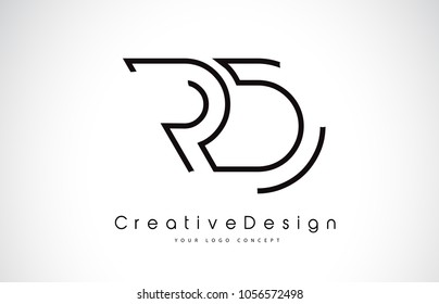 RD R D Letter Logo Design in Black Colors. Creative Modern Letters Vector Icon Logo Illustration.
