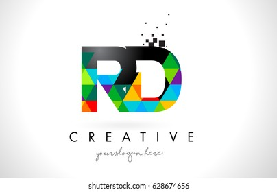 RD R D Letter Logo with Colorful Vivid Triangles Texture Design Vector Illustration.