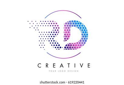 RD R D Pink Magenta Dotted Bubble Letter Logo Design. Dots Lettering Vector Illustration