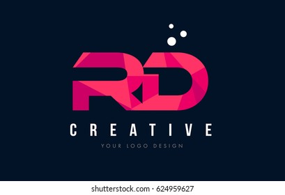 RD R D Purple Letter Logo Design with Low Poly Pink Triangles Concept